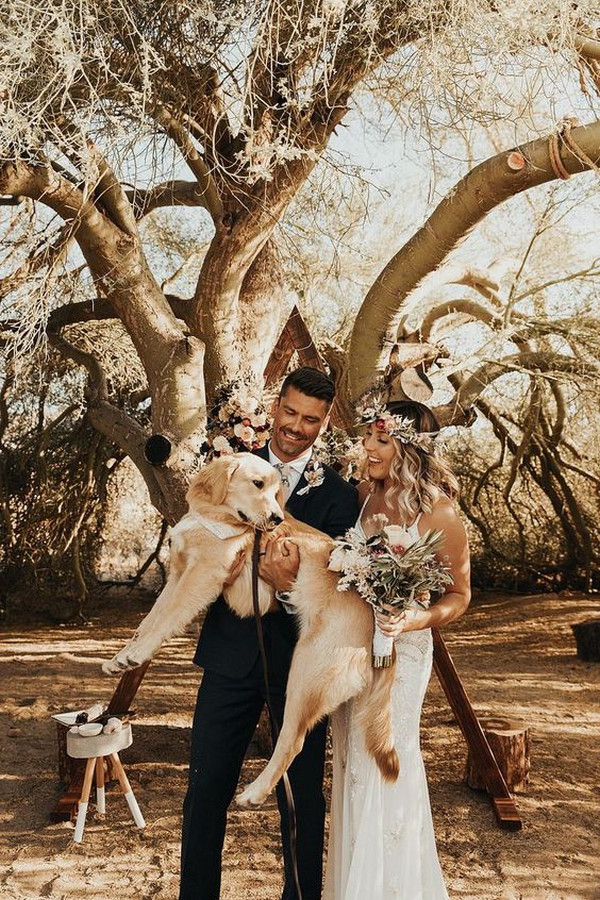 boho chic elopement wedding ideas with four legged friends