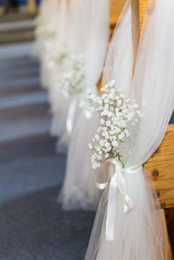 church wedding decoration ideas with baby's breath and tulle