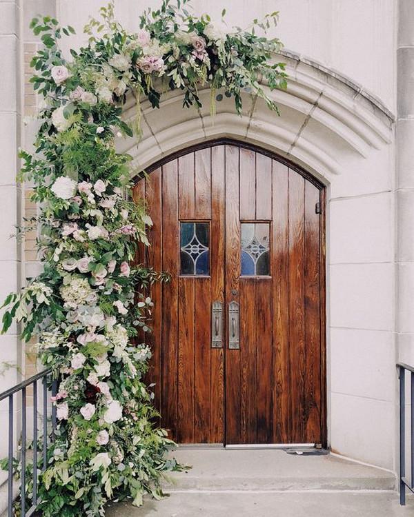 elegant church wedding entrance decoration ideas