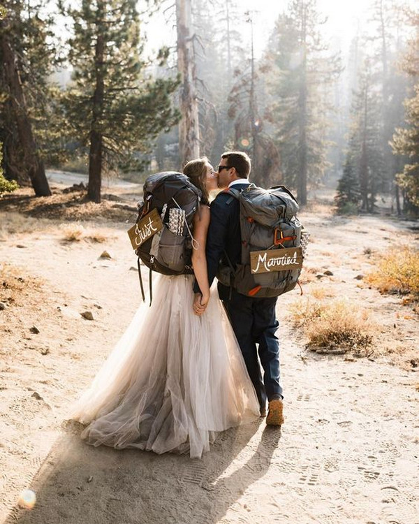 hiking themed elopement wedding ideas