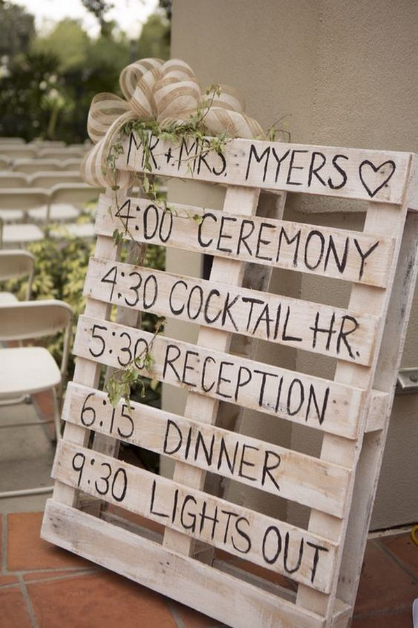 country rustic budget friendly wedding sign with wooden pallets