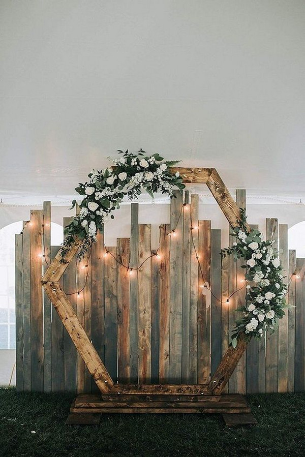 hexagon shaped rustic wedding backdrop ideas