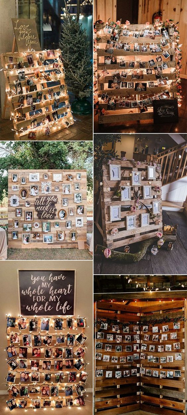 rustic wedding photo display decor ideas