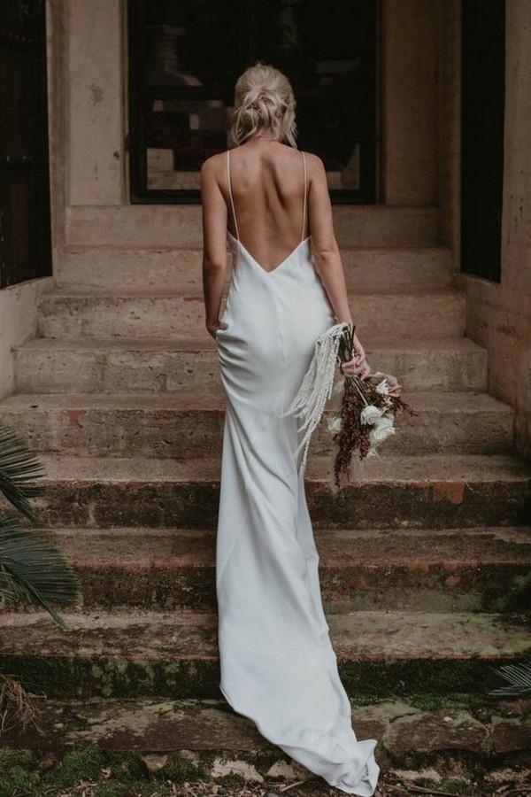 elegant silk wedding dress
