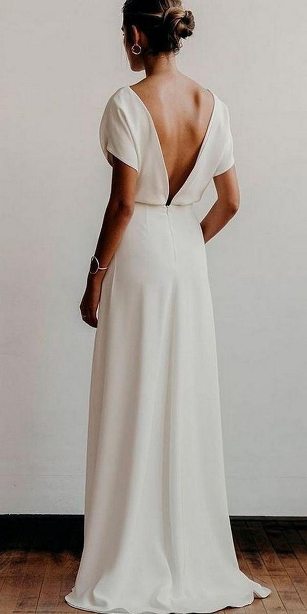 simple v back elegant wedding dress