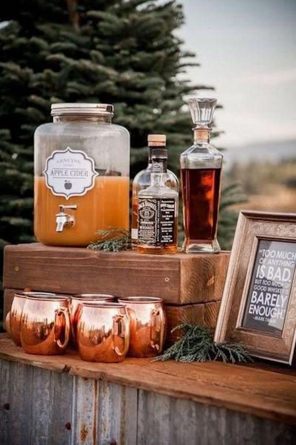 fall boho wedding drink bar ideas