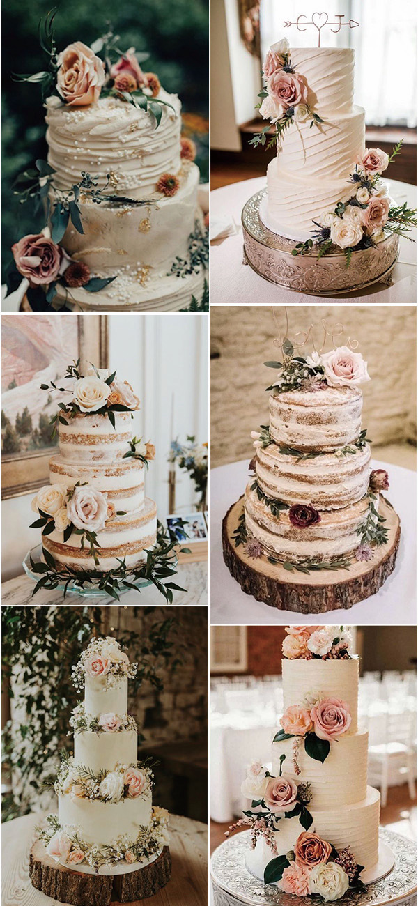 fall wedding cakes with pink floral