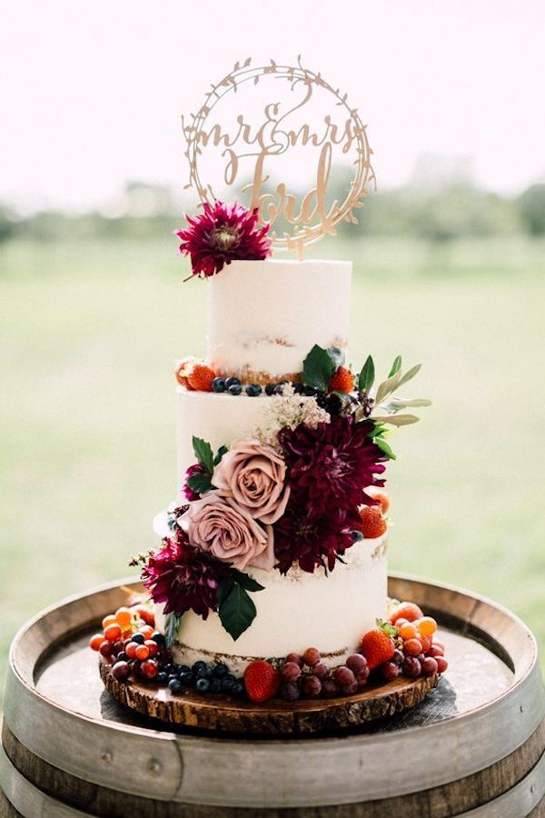 flowers and fruits fall wedding cake