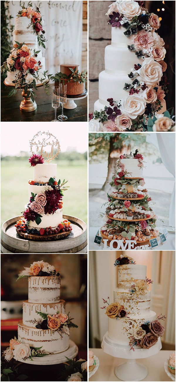 gorgeous fall wedding cake ideas with floral