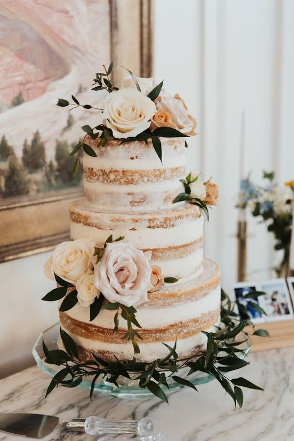 semi naked wedding cake ideas