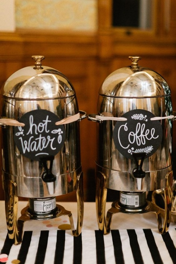 Hot drinks bar for winter weddings