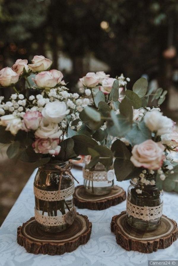 budget friendly rustic wedding centerpeice ideas