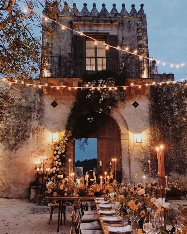 gorgeous wedding venue setting decoration ideas with lights 10