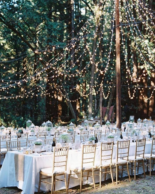 gorgeous wedding venue setting decoration ideas with lights 11