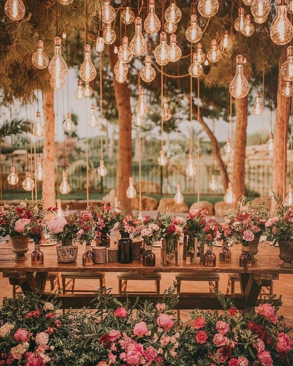 gorgeous wedding venue setting decoration ideas with lights 12