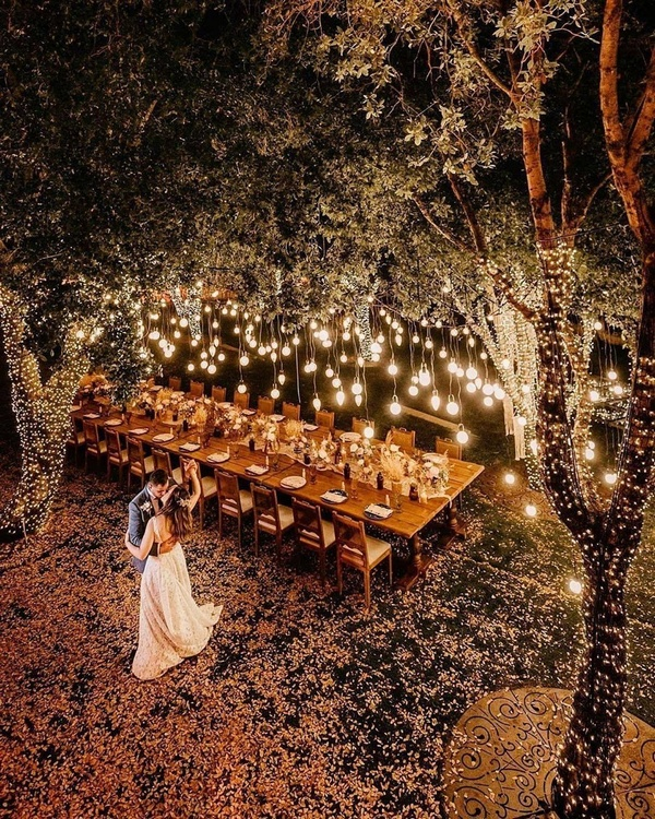 gorgeous wedding venue setting decoration ideas with lights 15