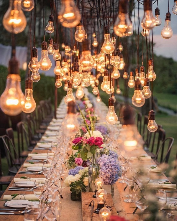 gorgeous wedding venue setting decoration ideas with lights 2