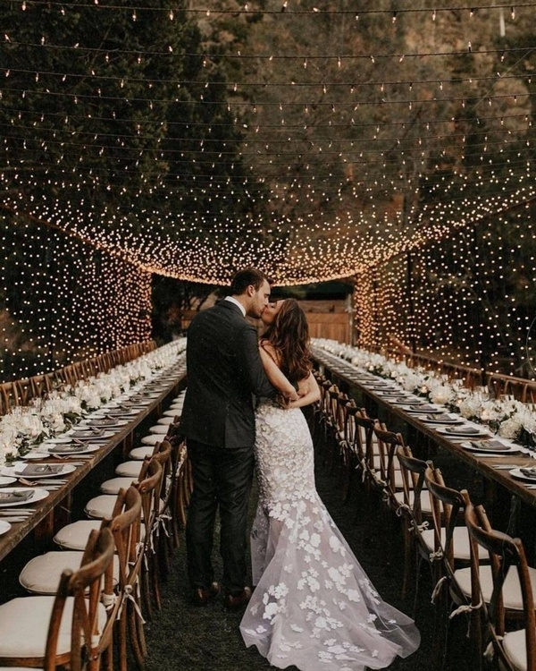gorgeous wedding venue setting decoration ideas with lights 3