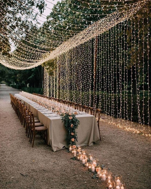 gorgeous wedding venue setting decoration ideas with lights 4