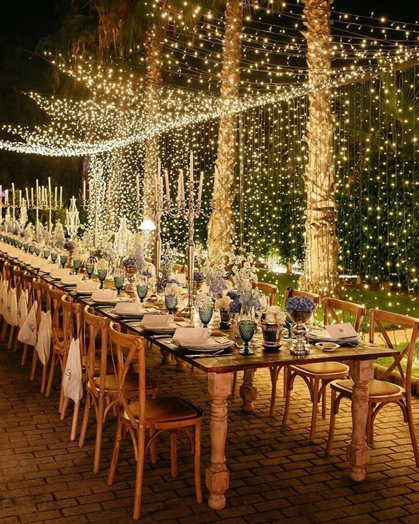 gorgeous wedding venue setting decoration ideas with lights 5