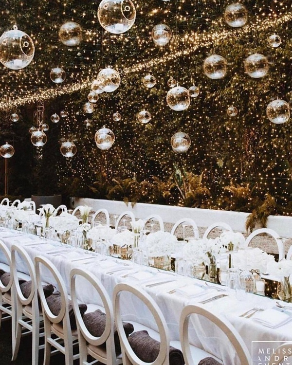 gorgeous wedding venue setting decoration ideas with lights 6