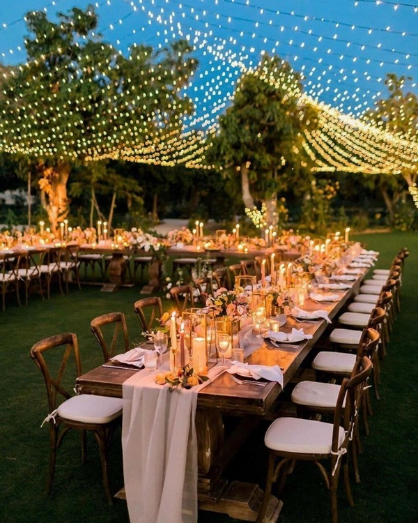 gorgeous wedding venue setting decoration ideas with lights 7