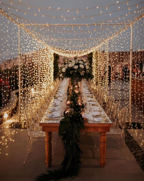 gorgeous wedding venue setting decoration ideas with lights 8