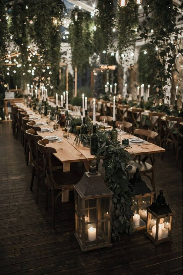 greenery winter wedding reception ideas with lights