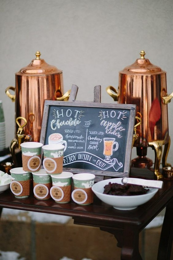 hot chocolate and cider bar for cozy winter wedding ideas