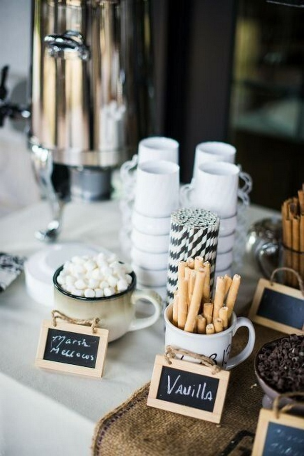 hot chocolate bar for winter wedding ideas