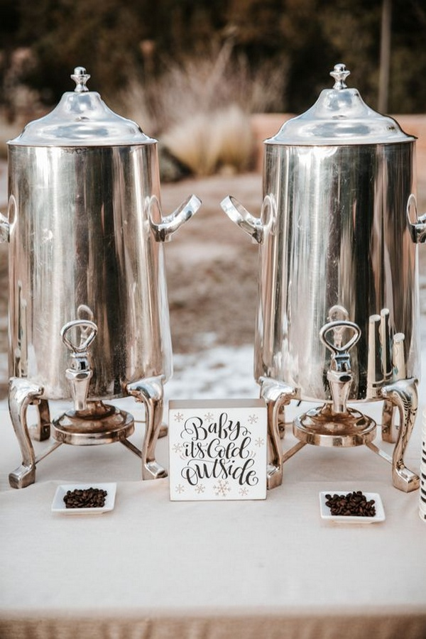 hot drinks station for winter wedding ideas