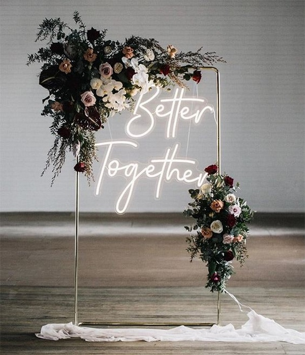 neon wedding ceremony backdrop ideas