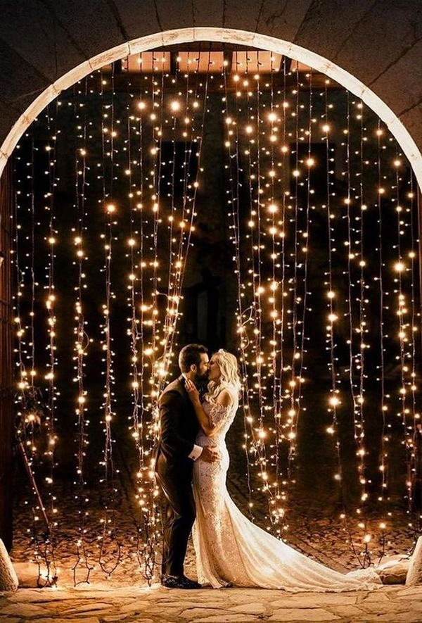 romantic wedding photo ideas with string lights
