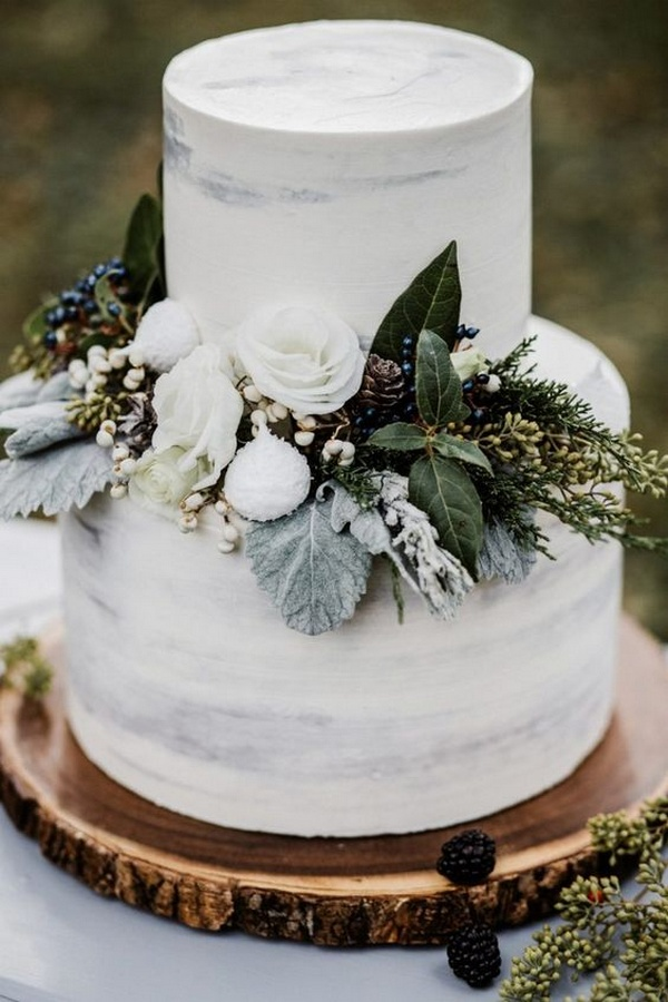 rustic winter wedding cake ideas