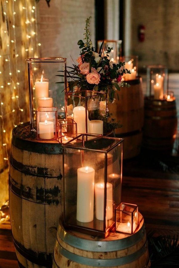 rustic winter wedding decoration ideas with candles