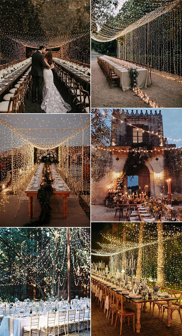 wedding reception venue setting ideas with string lights