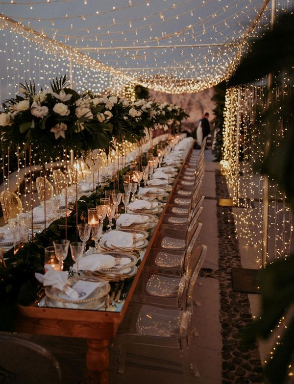 whimsical wedding reception ideas with string lights