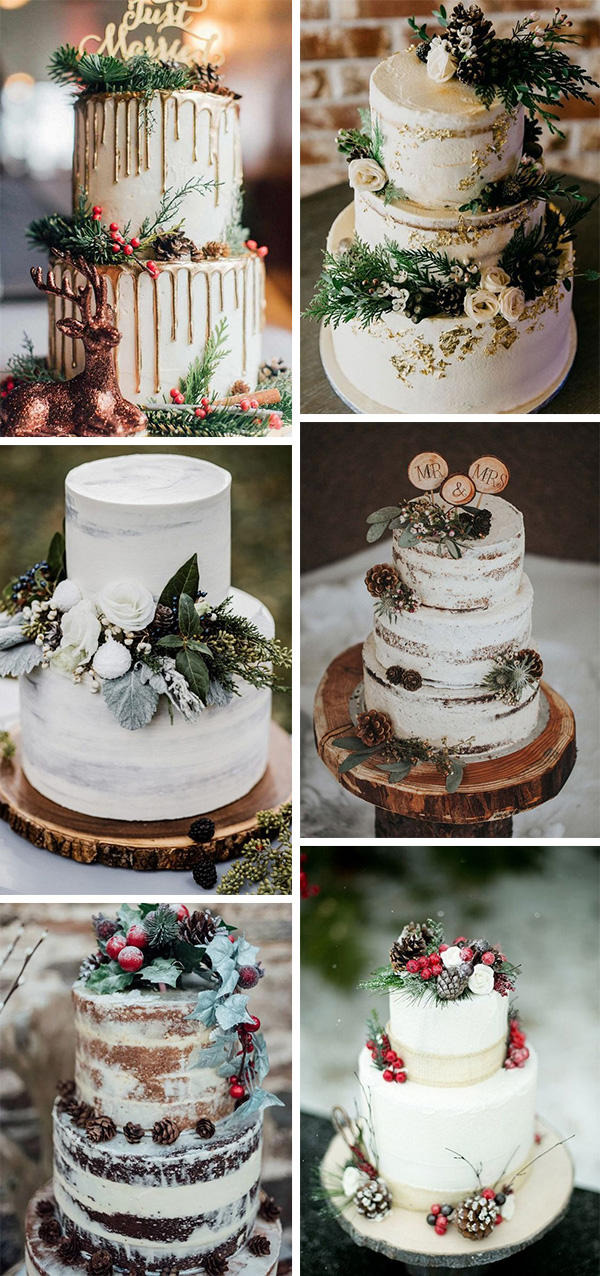 whimsical winter wedding cakes