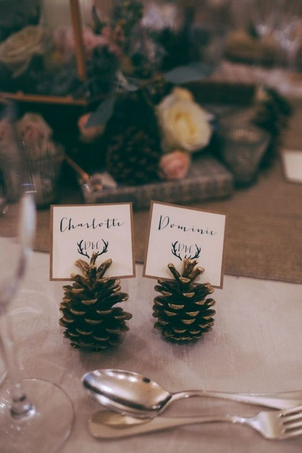winter wedding decoration ideas with pine cones