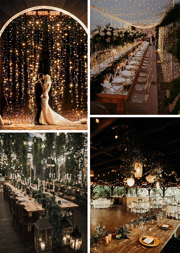 winter wedding decoration ideas with string lights