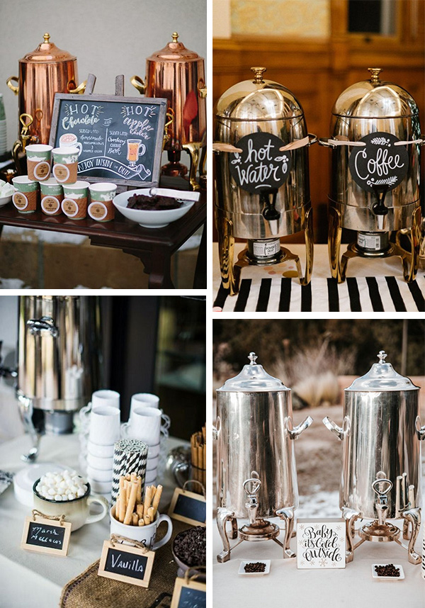 winter wedding ideas hot chocolate and coffee bar