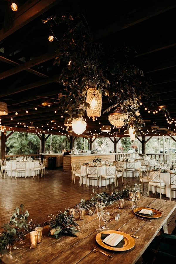 woodland winter wedding reception ideas with lights