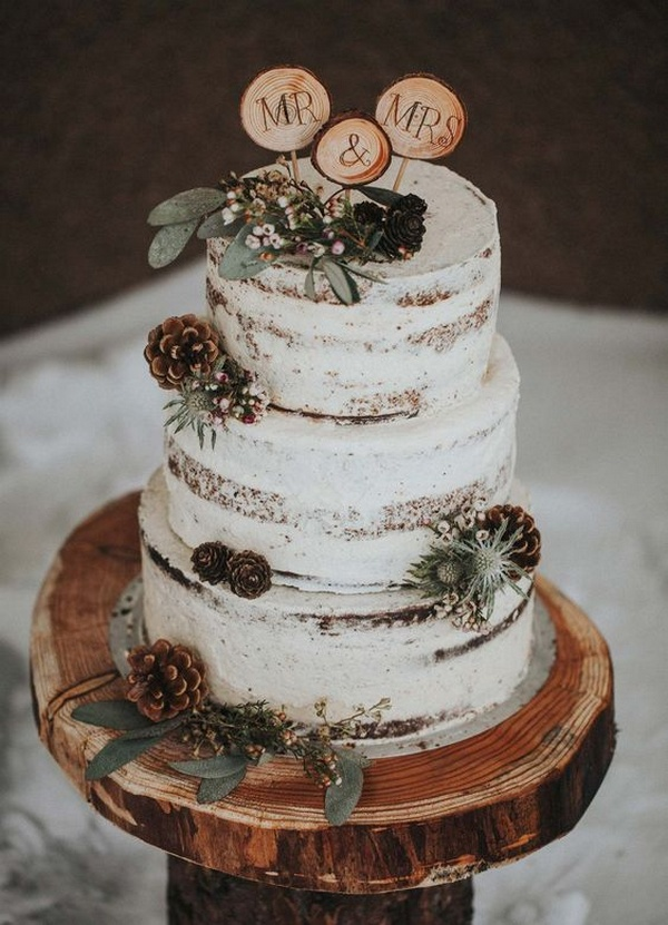 woodsy rustic winter wedding cake