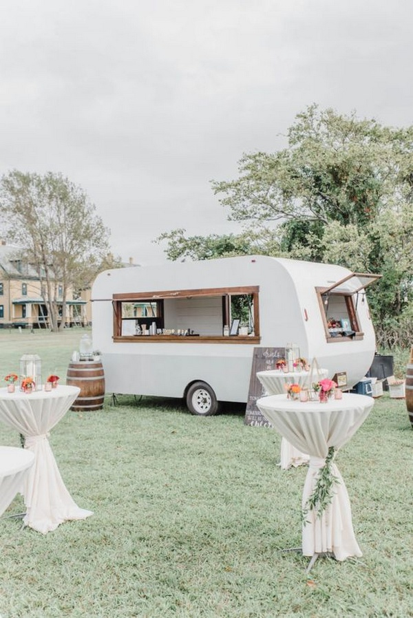 White Wedding Bar Camper for Cocktail hour and wedding reception