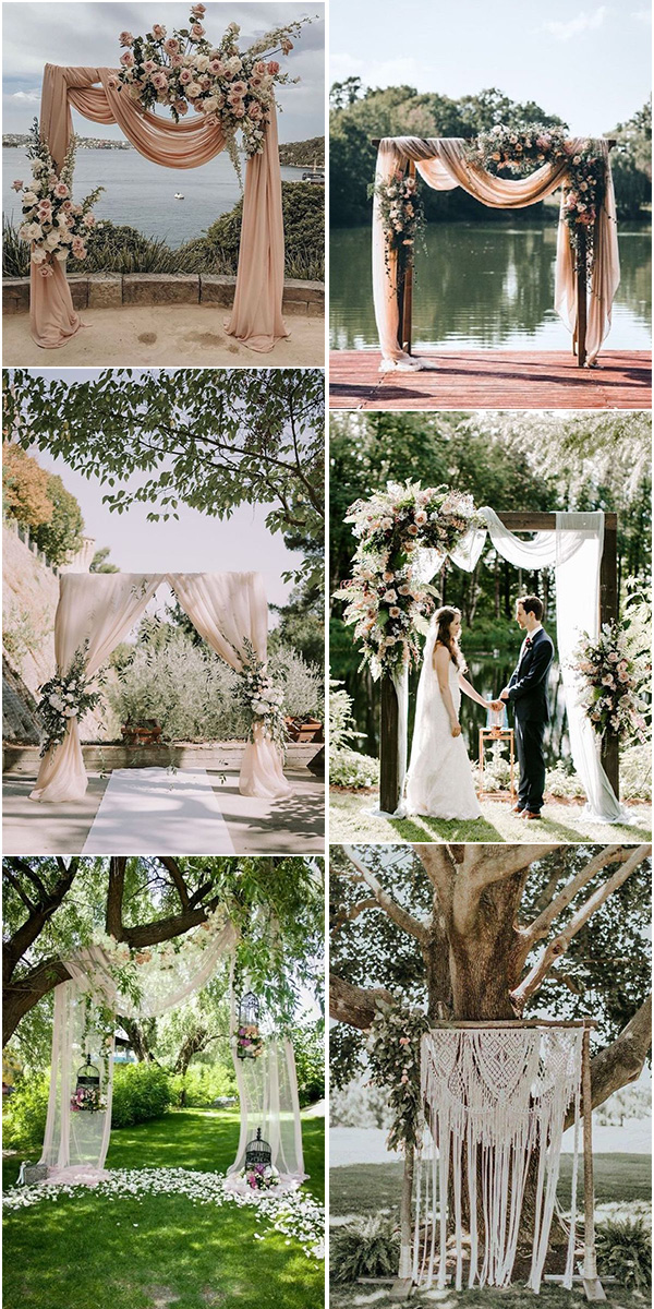 backyard wedding arches with floral and drapery