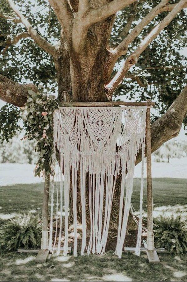 bohemian macrame backyard wedding arch ideas
