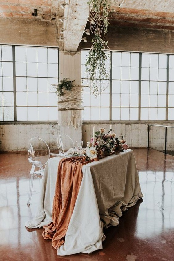 boho chic terracotta wedding table runner ideas