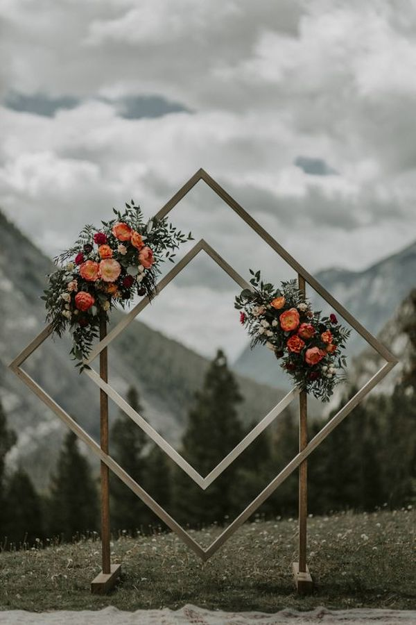 boho diamond shaped wedding arch ideas
