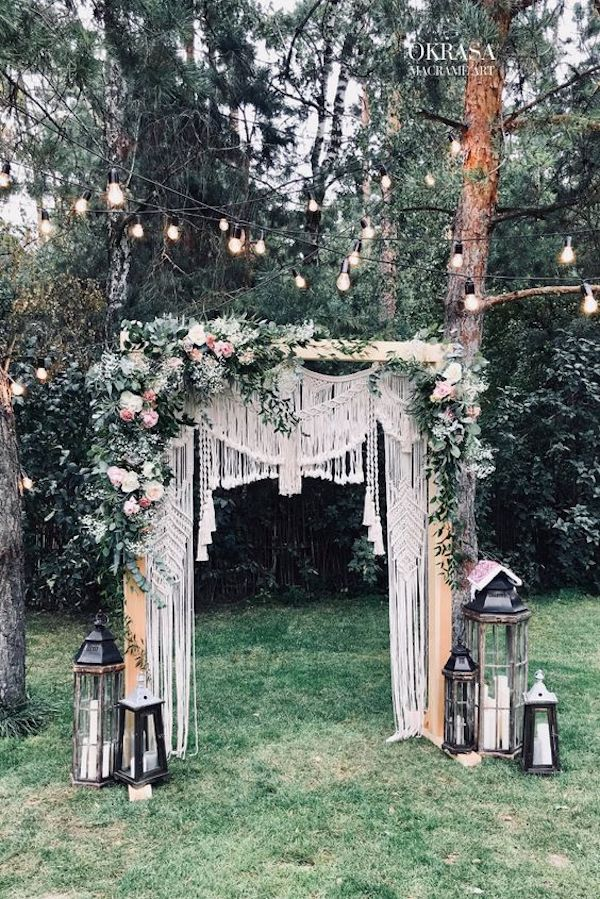boho macrame backyard wedding arch decoration ideas