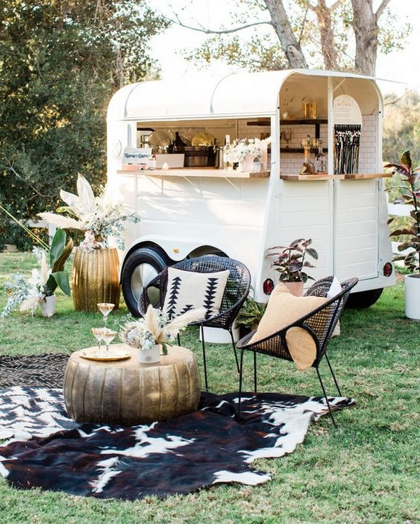 boho outdoor wedding mobile bar ideas